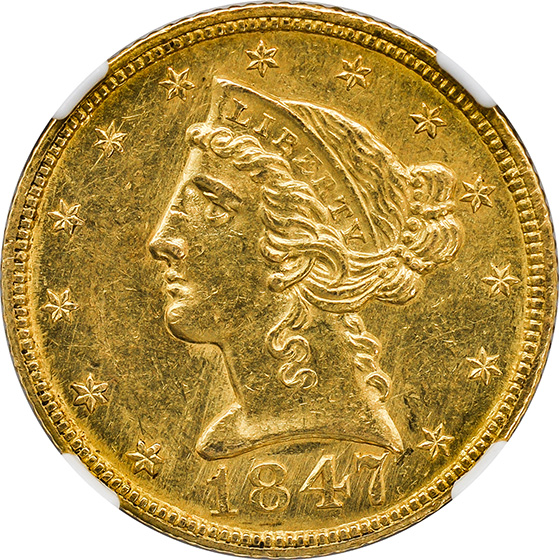 Picture of 1847-C LIBERTY $5, NO MOTTO MS62