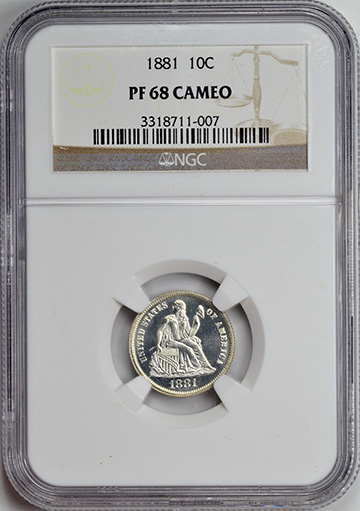 Picture of 1881 LIBERTY SEATED 10C, LEGEND PR68 Cameo