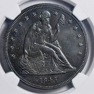 Picture of 1845 LIBERTY SEATED S$1, NO MOTTO MS62