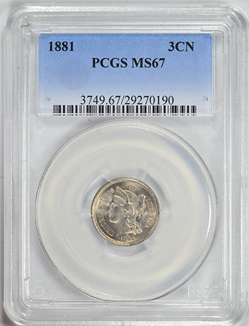 Picture of 1881 NICKEL 3CN MS67