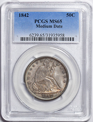 Picture of 1842 LIBERTY SEATED 50C, MEDIUM DATE, NO MOTTO MS65