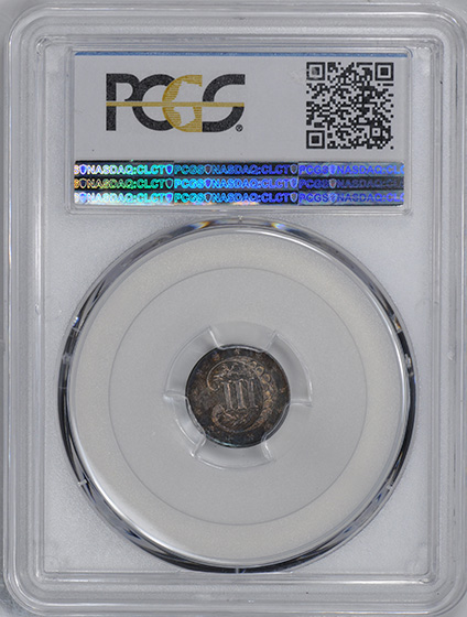 Picture of 1858 SILVER 3CS, TYPE 2 PR65