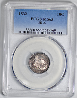 Picture of 1832 CAPPED BUST 10C, SMALL DENTICLES MS65