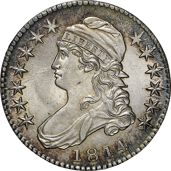 Picture of 1814 CAPPED BUST 50C, LETTERED EDGE MS65