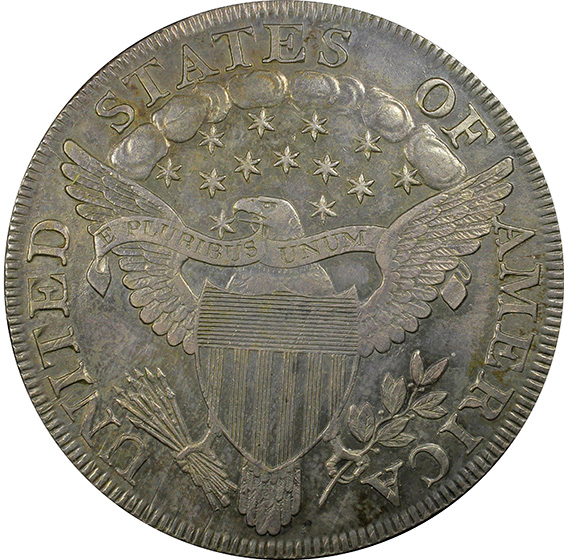 Picture of 1801 DRAPED BUST $1, B-2 BB-212, HERALDIC EAGLE MS61