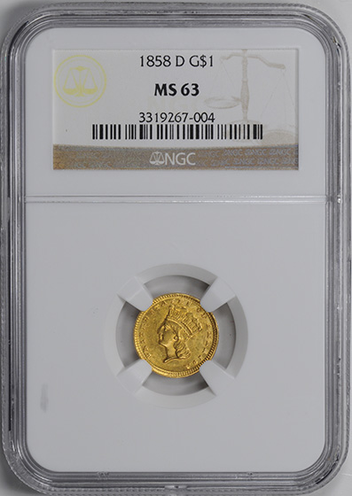 Picture of 1858-D GOLD G$1, TYPE 3 MS63