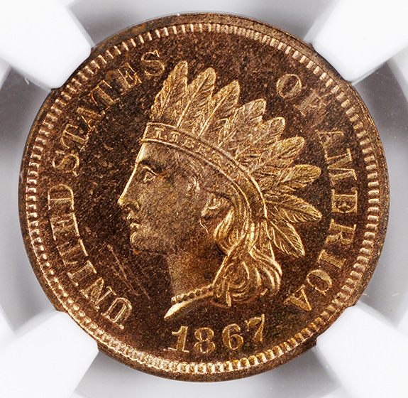 Picture of 1867 INDIAN BRONZE 1C PR66 Red