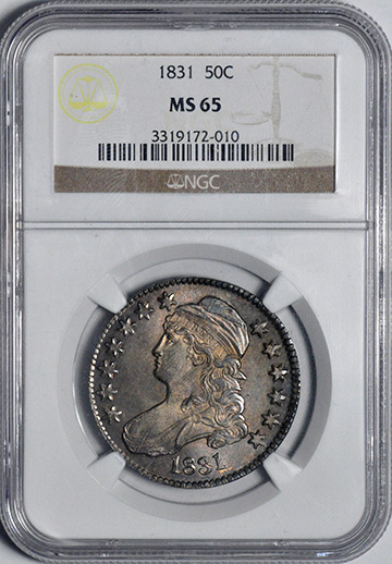 Picture of 1831 CAPPED BUST 50C, LETTERED EDGE MS65