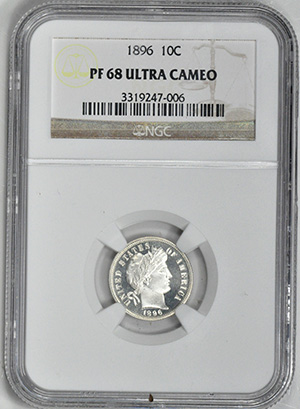 Picture of 1896 BARBER 10C PR68 Deep Cameo
