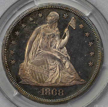 Picture of 1868 LIBERTY SEATED S$1, MOTTO PR66 Cameo