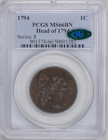 Picture of 1794 LIBERTY CAP 1C, HEAD OF 1794 MS66 Brown