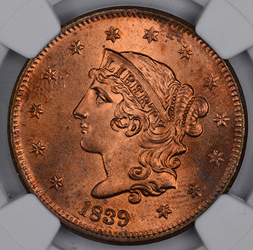 Picture of 1839 CORONET HEAD 1C, BOOBY HEAD MS65 Red