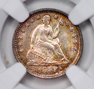 Picture of 1857 LIBERTY SEATED H10C, DRAPERY MS67