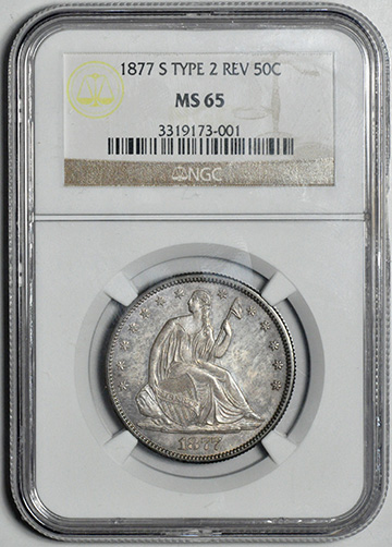 Picture of 1877-S LIBERTY SEATED 50C, MOTTO MS65