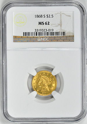 Picture of 1868-S LIBERTY $2 1/2 MS62