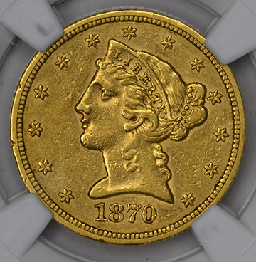 Picture of 1870-S LIBERTY $5, MOTTO AU55