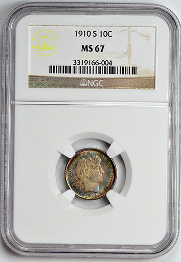 Picture of 1910-S BARBER 10C MS67