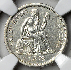 Picture of 1872-CC LIBERTY SEATED 10C, LEGEND AU55