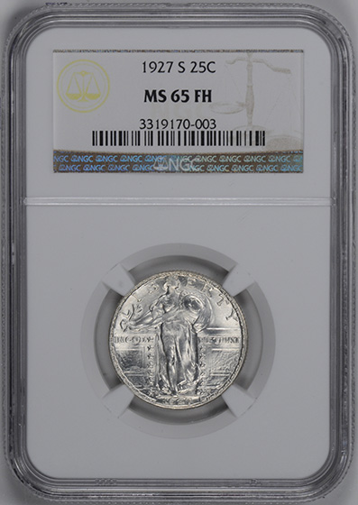Picture of 1927-S STANDING LIBERTY 25C, TYPE 2 MS65 Full Head