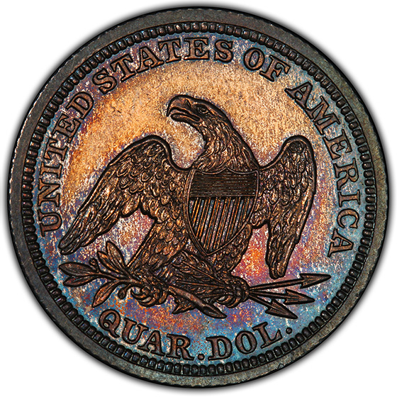 Picture of 1843 LIBERTY SEATED 25C, NO MOTTO PR64