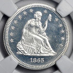 Picture of 1865 LIBERTY SEATED 25C, NO MOTTO PR65 Cameo