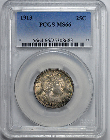 Picture of 1913 BARBER 25C MS66