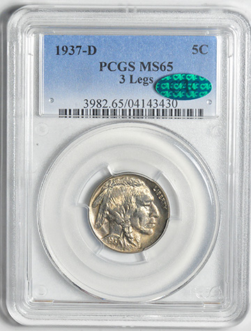 Picture of 1937-D BUFFALO 5C, 3 LEGS, TYPE 2 MS65
