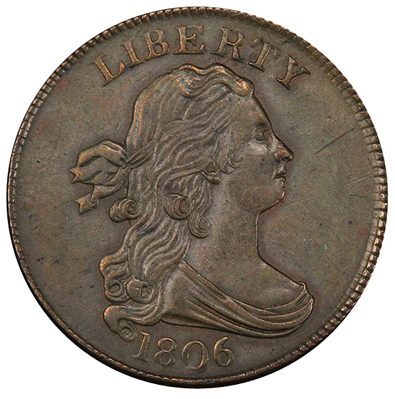 Picture of 1806 DRAPED BUST 1/2C, SMALL6, STEMS 55+