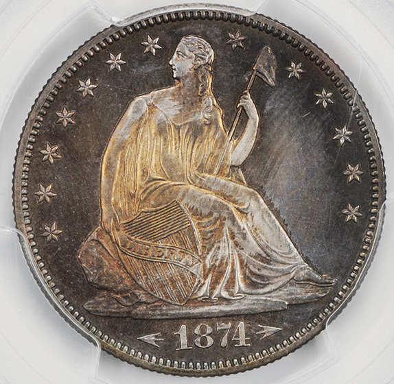 Picture of 1874 LIBERTY SEATED 50C, ARROWS, MOTTO PR65