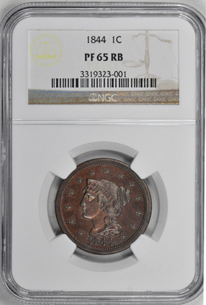 Picture of 1844 BRAIDED HAIR 1C PR65 Red Brown