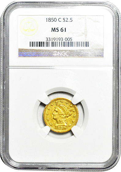 Picture of 1850-C LIBERTY $2 1/2 MS61