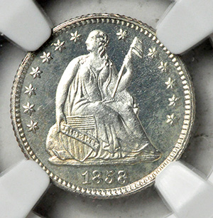 Picture of 1858 LIBERTY SEATED H10C, DRAPERY PR66 Cameo