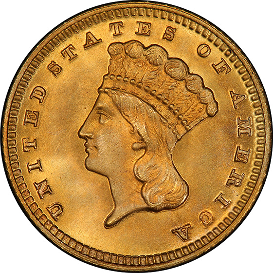 Picture of 1870 GOLD G$1, TYPE 3 MS67
