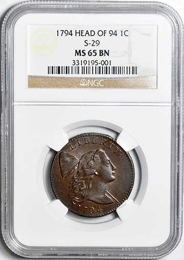 Picture of 1794 LIBERTY CAP 1C, HEAD OF 1794 MS65 Brown