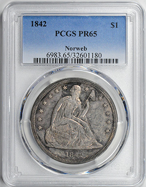 Picture of 1842 LIBERTY SEATED S$1, NO MOTTO PR65