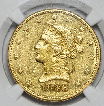Picture of 1846 LIBERTY $10, NO MOTTO AU55