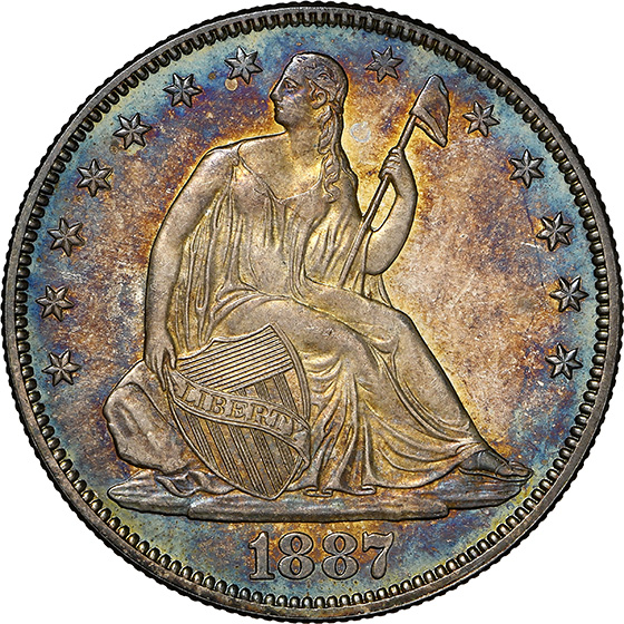 Picture of 1887 LIBERTY SEATED 50C, MOTTO MS67 Proof Like