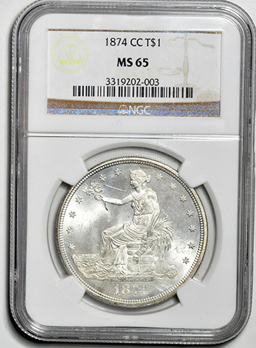 Picture of 1874-CC TRADE T$1 MS65