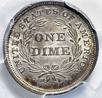 Picture of 1838 LIBERTY SEATED 10C, LARGE STARS, NO DRAPERY MS65