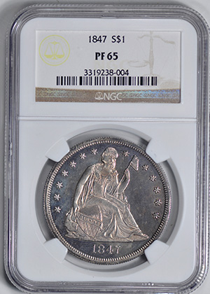 Picture of 1847 LIBERTY SEATED S$1, NO MOTTO PR65