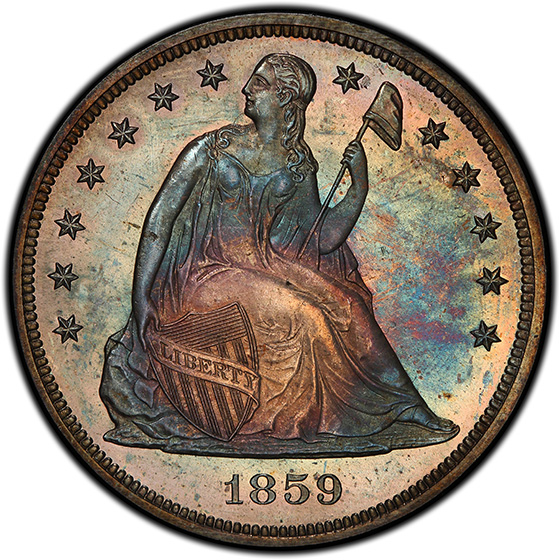 Picture of 1859 LIBERTY SEATED S$1, NO MOTTO PR66