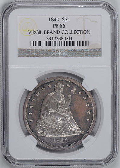 Picture of 1840 LIBERTY SEATED S$1, NO MOTTO PR65