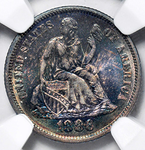 Picture of 1886 LIBERTY SEATED 10C, LEGEND MS67
