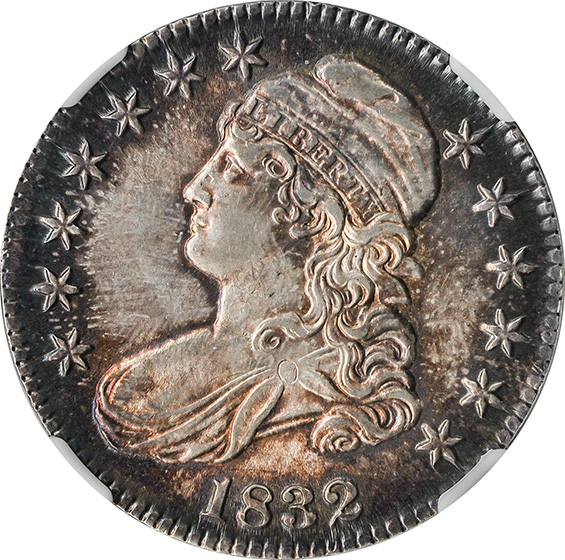 Picture of 1832 CAPPED BUST 50C, SMALL LETTERS, LETTERED EDGE MS65