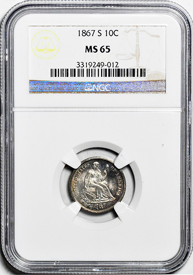 Picture of 1867-S LIBERTY SEATED 10C, LEGEND MS65
