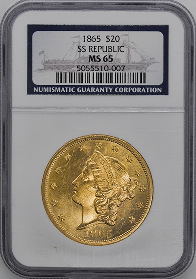 Picture of 1865 LIBERTY $20, NO MOTTO MS65