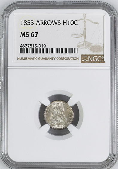 Picture of 1853 LIBERTY SEATED H10C, ARROWS MS67
