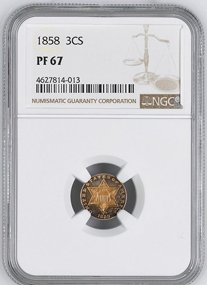 Picture of 1858 SILVER 3CS, TYPE 2 PR67