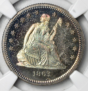 Picture of 1863 LIBERTY SEATED 25C, NO MOTTO PR67
