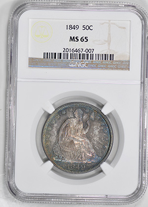 Picture of 1849 LIBERTY SEATED 50C, NO MOTTO MS65